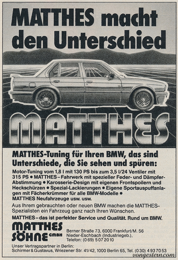 Matthes-Werbung aus den 80er-Jahren